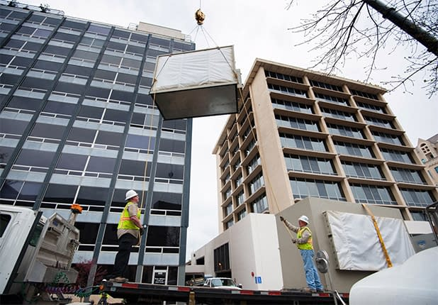 exterior upper view of installation at Travis County Executive Office Building